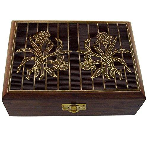 Handwerker 7 Schublade (Hashcart indischen Handwerker, handgefertigt und Handarbeit Holz Jewelry Box/Jewelry Lagerung Organizer/Trinket Jewelry Box mit traditionellen Design und Messing Einlegearbeiten, Holz, braun, Style 2)