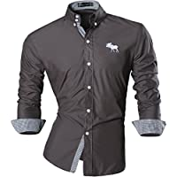 jeansian Uomo Camicie Maniche Lunghe Moda Men Shirts Slim Fit Casual Long Sleves Fashion 8558