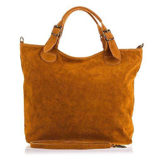 FIRENZE ARTEGIANI. Vera pelle signora borsa shopping bag. Rifinito in pelle genuino borsa in pelle scamosciata. MADE IN ITALY. VERA PELLE ITALIANA. 40x28x10 cm. colore: cammello