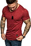 REPUBLIX Oversize Herren Slim-Fit T-Shirt V-Neck Basic Sommer V-Ausschnitt R20 Bordeaux S