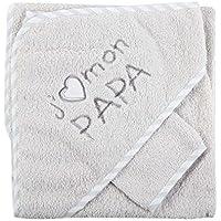 FC ESHOP - Sortie de bain j'aime mon papa + gant gris bébé - FC ESHOP