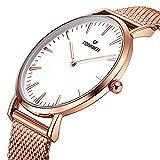 Tonnier Rose Gold Schlank Edelstahl Mesh Armband Uhr Quarzuhr Herrenuhr Weißgold Uhr Gesicht