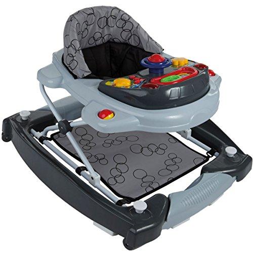 *2IN1 Lauflernhilfe/Babyschaukel mit Spielcenter (12 Melodien) und Einlage (GRAU)*