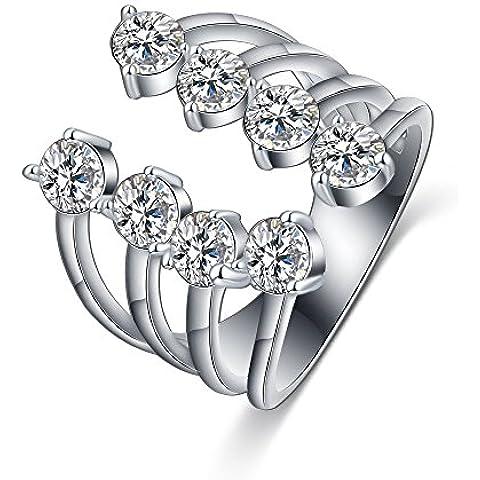 Trolux (TM) bandas y cuatro Joyer¨ªa de Alibaba Aliexpress Nuevo dise?o abierto fino anillo plateado platino CZ partido del anillo punky de tama?o variable Piedra CRI0336-B