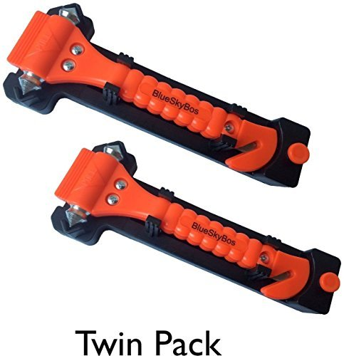 Two Packs of Emergency Escape Tool Auto Car Window Glass Hammer Breaker and Seat Belt Cutter Escape 2-in-1 Tool by BlueSkyBos