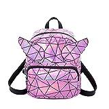 mciskin zaino di tendenza per scuola, borsa a tracolla, zaino in pelle sintetica, poliuretano, colorato, olografico, con glitter (rosa)