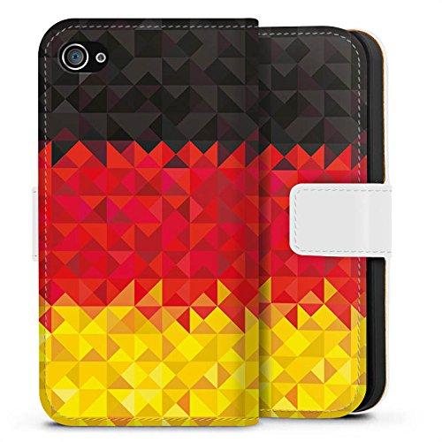 Apple iPhone X Silikon Hülle Case Schutzhülle Deutschland Flagge Dreiecke Sideflip Tasche weiß