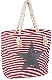 styleBREAKER Strandtasche in Streifen Optik mit Stern, Schultertasche, Shopper, Damen 02012037, Farbe:Rot-Weiß / Grau