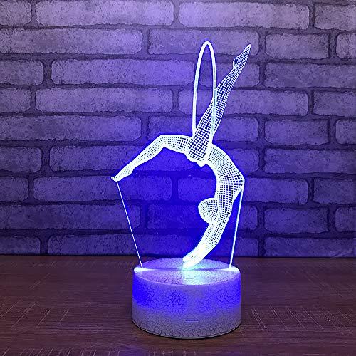 Yoppg 3D Nachtlicht Touch Switch LED7 Farbe Desktop Optische Täuschung Usb oder Batteriebetriebene Gymnastik Allgemein