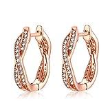 Qings Rose Gold Vergoldete Ohrringe Zirkonia 925 Sterling Silber Ohrringe Modisches Geschenk für Frauen Mädchen Mutter Freundin