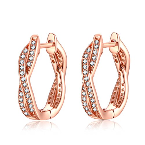 Qings orecchini cerchio in argento 925 donna con zirconia cubica placcati oro rosa regalo di natale per fidanzata madre
