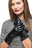 Lange Lederhandschuhe Ellenbogenlänge mit Reißverschluss für Frauen | Touchscreen Langärmelige Handschuhe aus Echtleder mit Thinsulate Innenfutter für Herbst & Winter