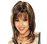 BeautyWig 15' Longue Ombre Perruques Avec Appartement Frange Tout droit Synthétique Femmes Perruques Chaleur Résistant Cheveux Foncé Racine Deux Ton marron Perruque
