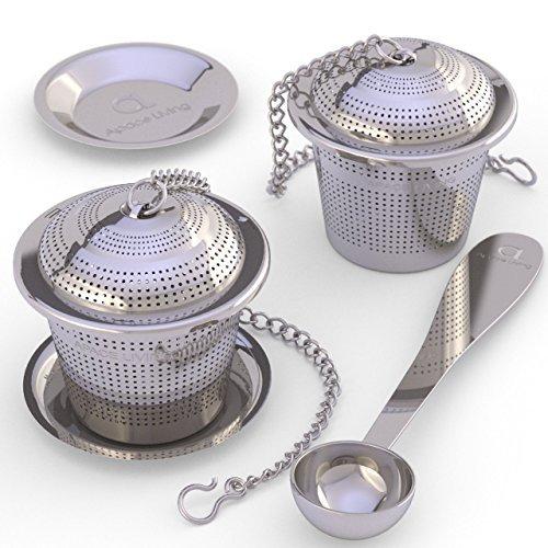 Apace Teesieb (2er Set) mit Teeschaufel und Abtropfschale – Ultrafeines Tee-Ei aus Edelstahl zum Aufbrühen von losen Teeblättern – Teebrüher mit kleiner Maschenweite für einen überlegenen Teegenuss (Sache Für 1 Cent)