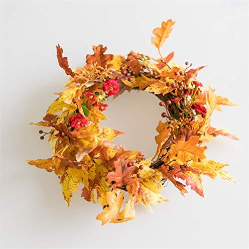 Liveinu ghirlanda di fiori artificiali fatta a mano centrotavola per matrimoni corona per porta con vimini base ghirlanda natalizia decorazione per festa a casa 21 cm foglie d'autunno e rosso bacche di agrifoglio