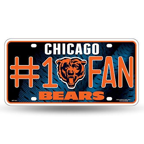 Unbekannt NFL # 1Fan Metall Auto Tag, Unisex, Chicago Bears