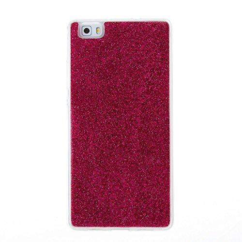 Soft Flexible Silikon TPU Gel Cover Case [Anti-Kratzer] Glänzende Glitter 360 ° Volldeckung Rückseitige Abdeckung [Shockproof] für Huawei P8 Lite ( Color : Silver ) Red