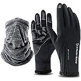 JAANY Touchscreen Handschuhe Outdoor Sport Damen Herren Fahrradhandschuhe Winddicht und Touchscreen geeignet Perfekt für Herbst oder Frühling Winter und Halswärmer