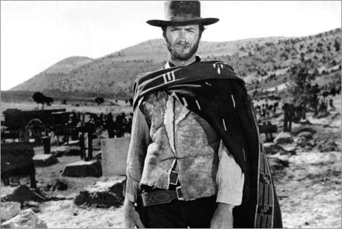 Posterlounge Leinwandbild 60 x 40 cm: Clint Eastwood in einem Western von Everett Collection - fertiges Wandbild, Bild auf Keilrahmen, Fertigbild auf echter Leinwand, Leinwanddruck (Clint Eastwood Leinwand)