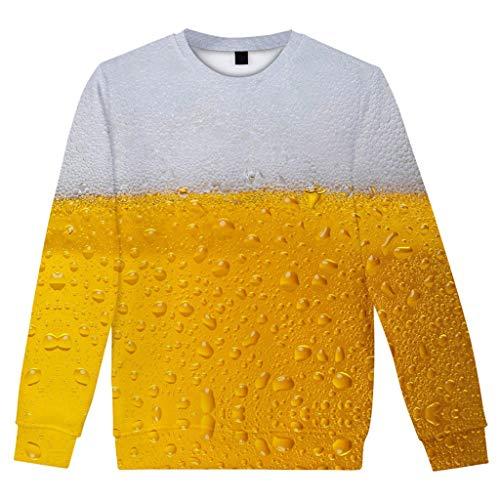 Zolimx Festival Bier Laternen Pullover Kostüm Punk Hip Hop Hoodies Sweatshirts Tops Herren Casual Langarm Bier Festival New Style 3D-Druck O-Ausschnitt Shirt