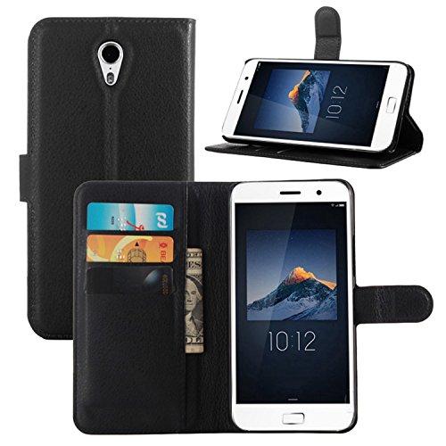 Tasche für Lenovo ZUK Z1 Hülle, Ycloud PU Ledertasche Flip Cover Wallet Case Handyhülle mit Stand Function Credit Card Slots Bookstyle Purse Design schwarz