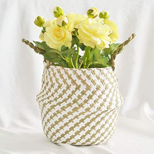 Geflochtener Hängekorb, handgewebter, faltbarer Blumentopf für die Aufbewahrung, Wäsche, Picknick, Blumentopf und Strandtasche (Wicker Wie Wäscherei Behindern)