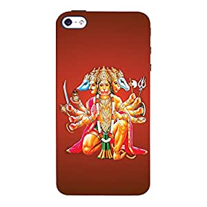 ColourCrust Apple iPhone 4 Mobile Phone Back Cover With Devotional Punch Mukhi Hanuman - Durable Matte Finish Hard Plastic Slim Case