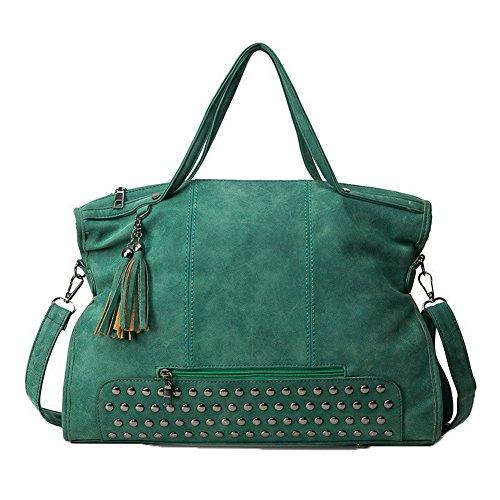 Allhqfashion donna vita quotidiana weekend fughe cerniere spalla-borse borse, verde