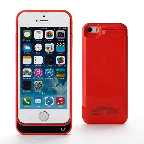 Realmax® 4200mah batteria esterna ricaricabile di ricambio, custodia per iphone 5/5s/5c (nero, blu, rosa) pink
