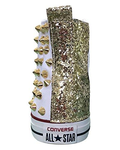 Comprar Compra Barata Converse All Star con borchie cono alto oro e tessuto glitter oro Bianco Comprar Barato Para La Venta WF7HaU3Cnn
