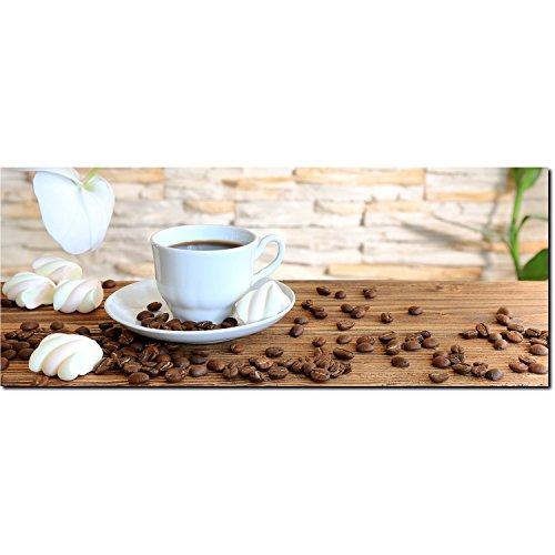 DekoGlas Glasbild 'Tasse Kaffee Kaffeebohnen' Echtglas Bild Küche, Wandbild Flur Bilder Wohnzimmer...