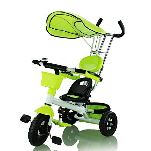 Preisvergleich Produktbild Neuest FASCOL® Hochwertig 2 Jahren Garatie Trike Kinderwagen Fahrrad-Dreirad mit Dach Lenkstange Kinder dreirad Bady Kleinkinder Fahrrad Kinderfahrzeug, Grün