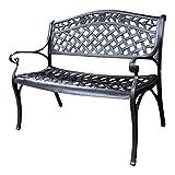 Lazy Susan Furniture - Rose Metal Garden Bench, Antique Bronze (No cushion)