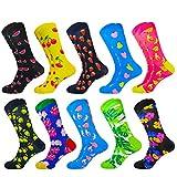 HIWEAR Herren Kleid Bunte lustige Design Komfort gekämmte Baumwolle Crew Socks Pack (10PK-mix4)