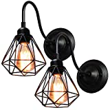 2 Pcs Lámpara de Pared Retro Industrial Apliques Mini 16 cm Diámetro Pantalla de Lámpara E27 Iluminación Corridor Pasillo Baño Sala de estar