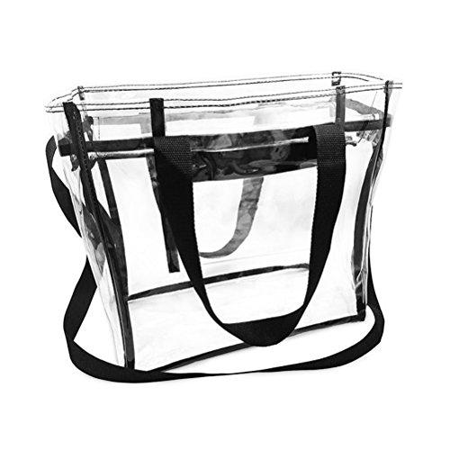 Yiuswoy Transparent Strandtasche Schultertasche Wassderdicht PVC Tasche für Strand, Pflegeprodukte oder Kosmetik - Blau Schwarz