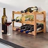 Relaxdays 10019279 Weinregal klein 28 x 42,5 x 21 cm Holz Flaschenregal mit 3 Ebenen für 12 Flaschen Wein kleiner Weinflaschenhalter aus Walnuss geölt zur waagerechten Lagerung, natürlich - 2