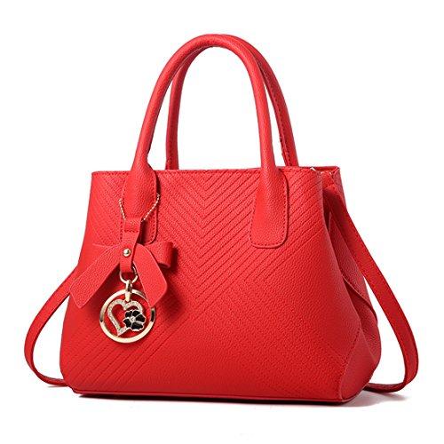 Dunland Frauen Leder Shell-Muster Handtaschen Vintage Tote Satchel Schultertasche Top Griff Geldbörse Magenta (Magenta Geldbörse Leder)
