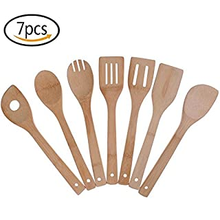 BESTIM INCUK Bamboo Cooking Utensils Set, 7 Pack Kitchen Tools Wooden Spoons and Spatula 11.8 Inch, Best for Non Sticky Pans and Cookware