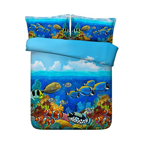 LongYu Unterwasserwelt Verschiedene Fischgruppen 3D-Bettdecke Decken DREI Sätze Bettwäsche. (Color : B, Size : 150×200)