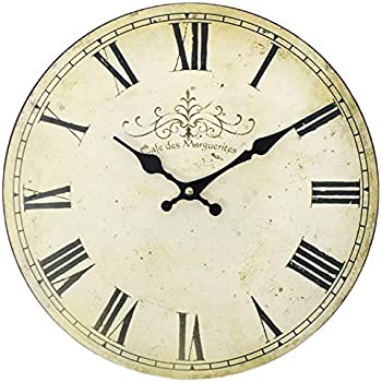 Shabby Chic Vintage Style Wall Clock With Roman Numerals