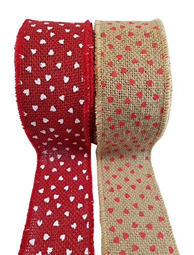 3Cats Art Supplies Herz Bedruckt Jute Band mit Draht Rand-Rot Herzen auf Natur und Weiß Herzen auf Rot-2Rollen, je 6,3cm X 10Yards