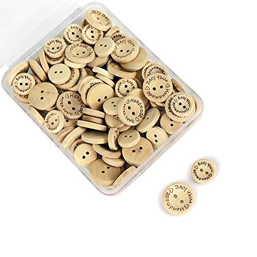 SUNTATOP 150 Pièces Fait à la Main avec Le Bouton en Bois Rond pour la Couture et Les Décorations D'artisanat,15mm/20mm