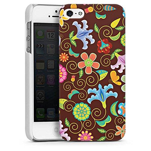 Apple iPhone 5s Housse Étui Protection Coque Rétro couleurs Fleurs CasDur blanc