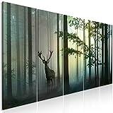decomonkey Bilder Hirsch 200x80 cm 5 Teilig Leinwandbilder Bild auf Leinwand Vlies Wandbild Kunstdruck Wanddeko Wand Wohnzimmer Wanddekoration Deko Tiere Wald Natur