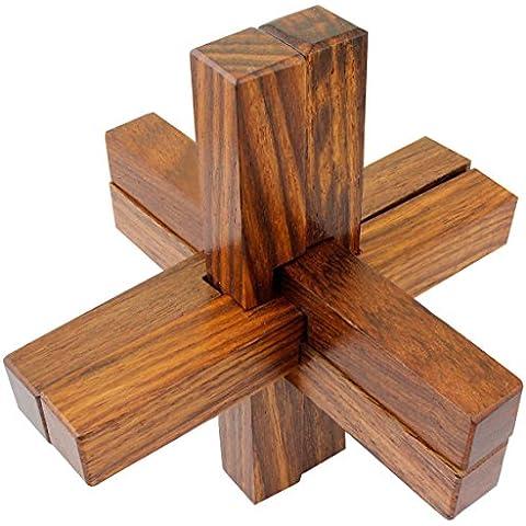 Hechos a mano de madera de 6 piezas entrelazadas rompecabezas de juguete bloque para adultos - enigmas viajan juego -10.2 x 10,2 x 10,2 cm