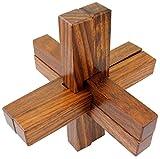 Artigianali in legno 6-parti di collegamento puzzle blocco giocattolo per adulti - rompicapi viaggiano gioco -10.2 x 10,2 x 10,2 cm