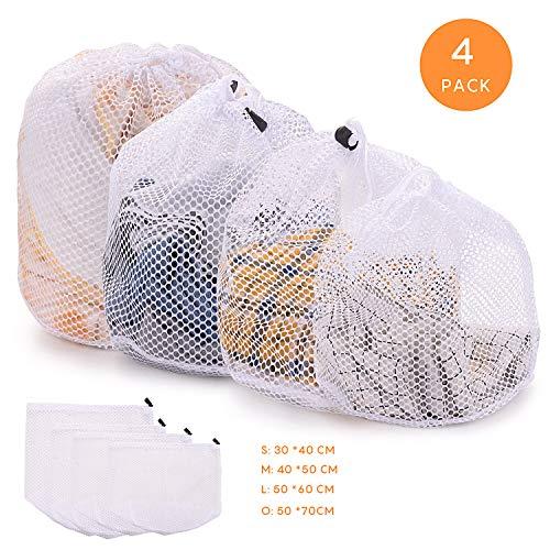 FORMIZON 4 Stück Waeschesack Waschmaschine mit Kordelstopper Wäschenetz Wäschesack Wäschebeutel für Waschmaschine, Kleidung, Oberbekleidung, Dessous, Socken, Strümpfe (Grobmaschiger Wäschesack) (Socken Oberbekleidung)