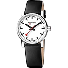 Mondaine  evo2 30mm sapphire Watch with St. Steel polished Case white Dial and black leather Strap MSE.30110.LB