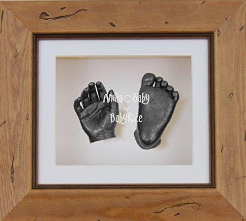 BabyRice 3D-Guss-Set für Baby Holz rustikal Rahmen zinn Wirft Hand Fuß (Fuß Wirft)